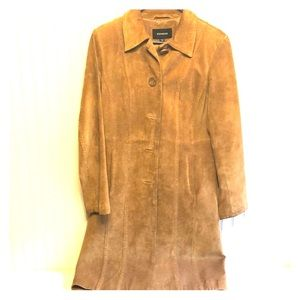 Camel/brown suede long coat by Express